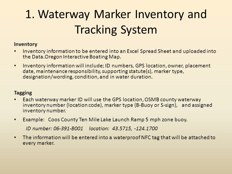 1. Waterway Marker Inventory and Tracking System