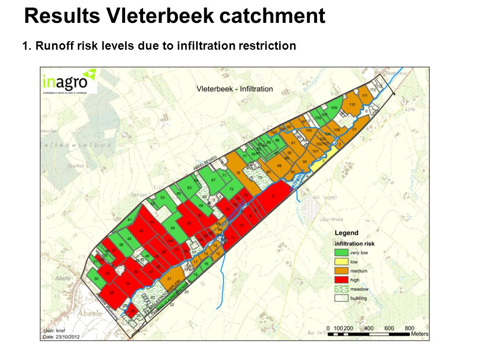 Results Vleterbeek catchment 1. Runoff risk levels due to infiltration restriction