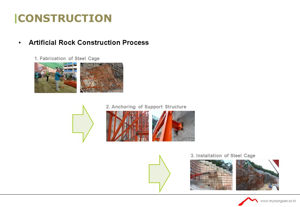 www.myoungsan.co.kr CONSTRUCTION Artificial Rock Construction Process 1.