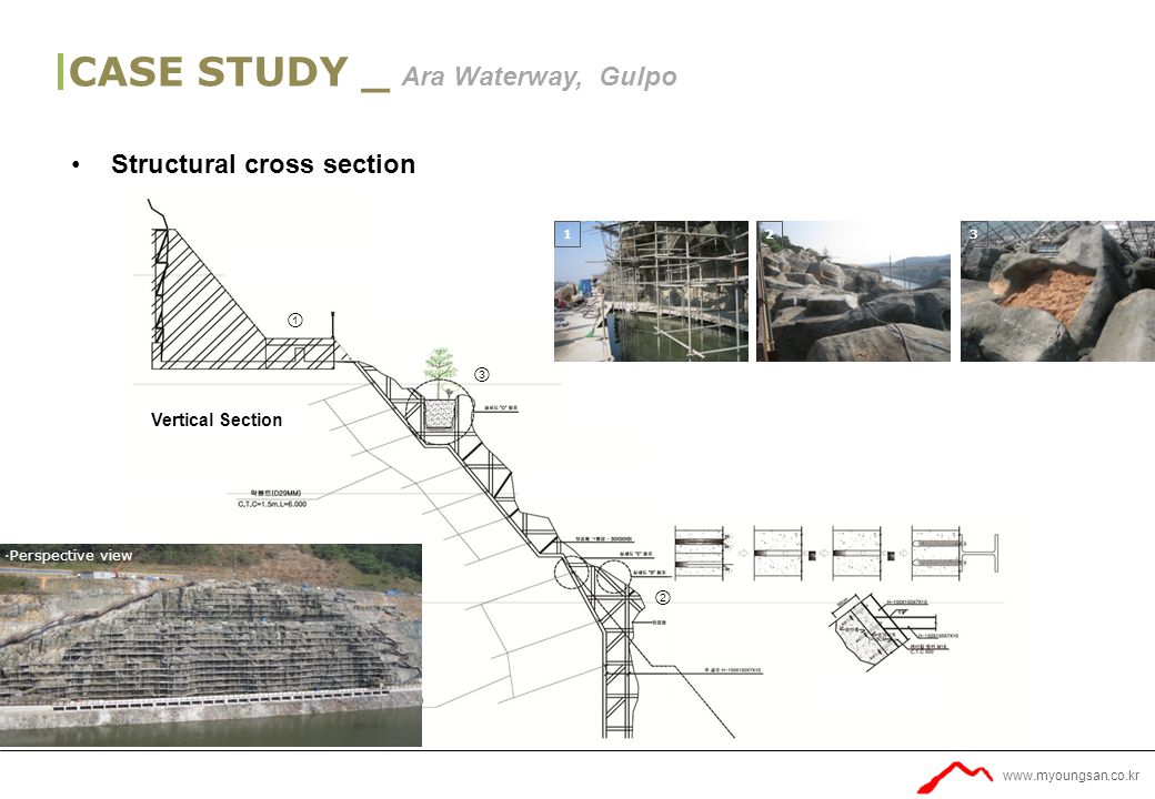www.myoungsan.co.kr Vertical Section ∙Perspective view 123 ① ② ③ CASE STUDY _ Ara Waterway, Gulpo Structural cross section