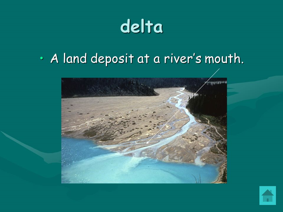 delta A land deposit at a river's mouth.A land deposit at a river's mouth.