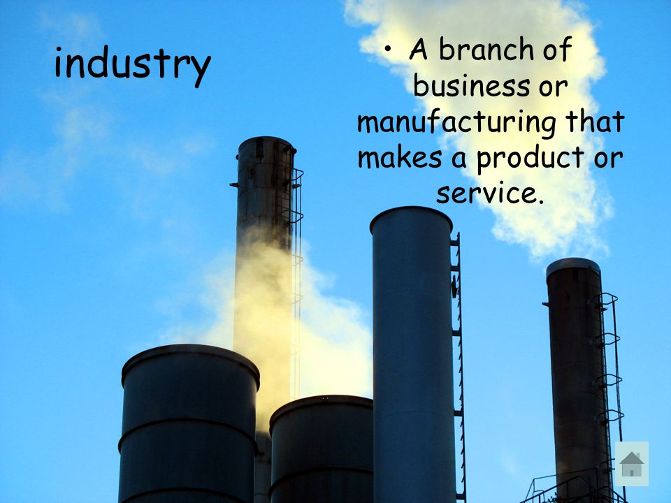 industry A branch of business or manufacturing that makes a product or service.