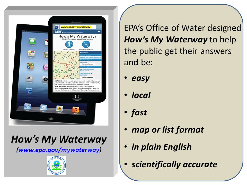 2 EPA's Office of Water designed How's My Waterway to help the public get their answers and be: easy local fast map or list format in plain English scientifically accurate How's My Waterway (www.epa.gov/mywaterway)www.epa.gov/mywaterway