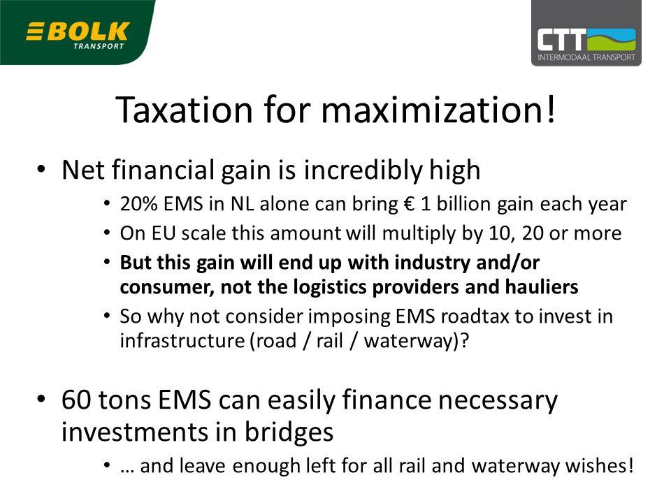 Taxation for maximization.
