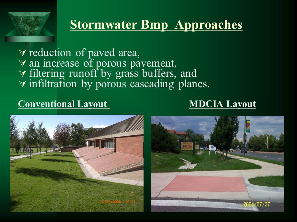 Stormwater Bmp Approaches  reduction of paved area,  an increase of porous pavement,  filtering runoff by grass buffers, and  infiltration by porous cascading planes.