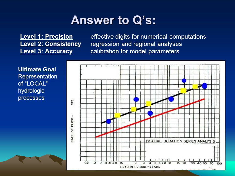 Answer to Q's: Level 1: Precision effective digits for numerical computations Level 2: Consistencyregression and regional analyses Level 3: Accuracy c
