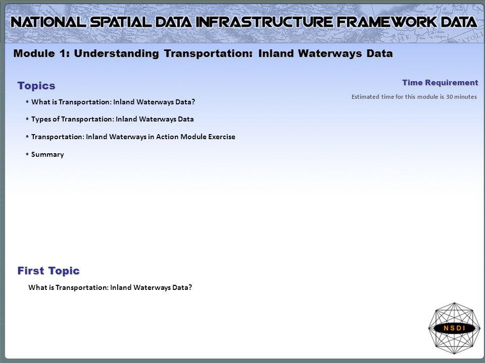 Module 1: Understanding Transportation: Inland Waterways Data Topics What is Transportation: Inland Waterways Data? Types of Transportation: Inland Wa