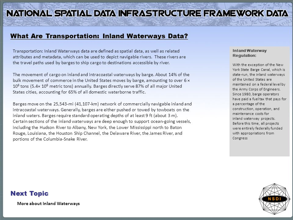 What Are Transportation: Inland Waterways Data.