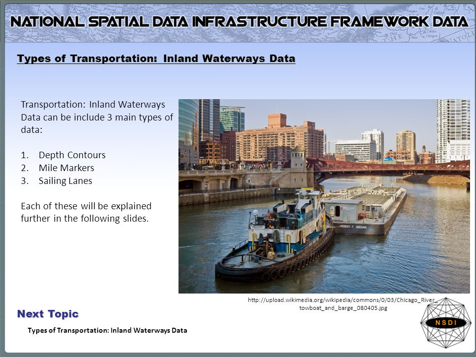 Types of Transportation: Inland Waterways Data Transportation: Inland Waterways Data can be include 3 main types of data: 1.Depth Contours 2.Mile Markers 3.Sailing Lanes Each of these will be explained further in the following slides.