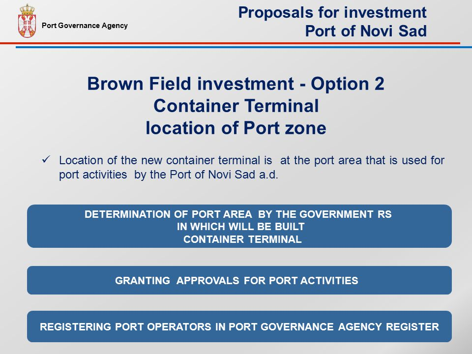 Location of the new container terminal is at the port area that is used for port activities by the Port of Novi Sad a.d.