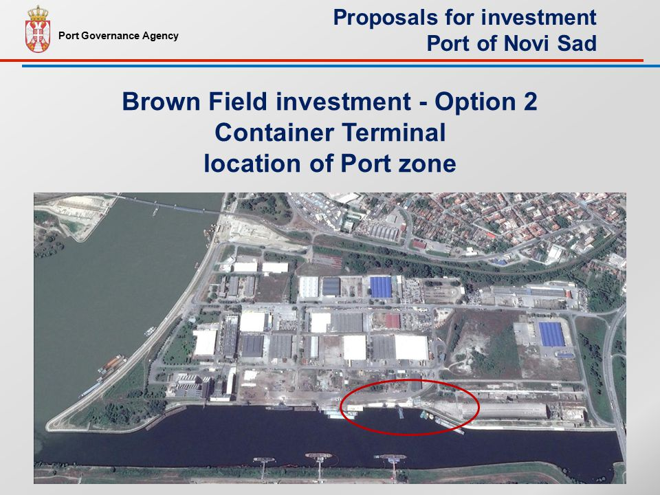Brown Field investment - Option 2 Container Terminal location of Port zone Port Governance Agency Proposals for investment Port of Novi Sad