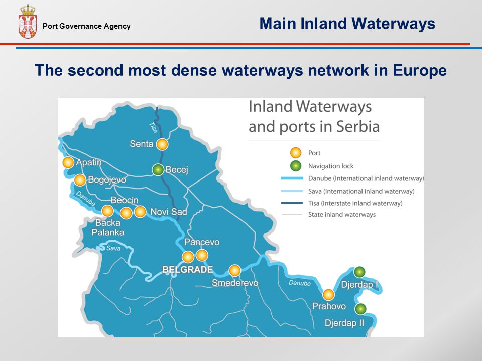 The second most dense waterways network in Europe Port Governance Agency Main Inland Waterways