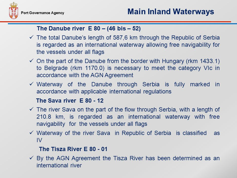 Port Governance Agency Ports in Serbia