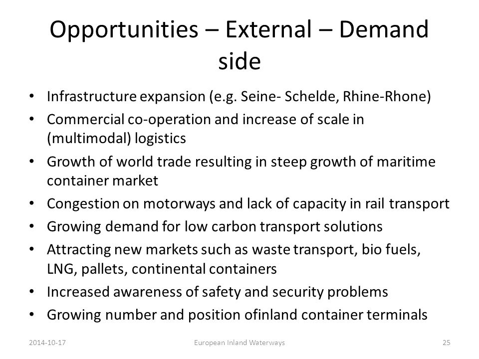 Opportunities – External – Demand side Infrastructure expansion (e.g. Seine- Schelde, Rhine-Rhone) Commercial co-operation and increase of scale in (m