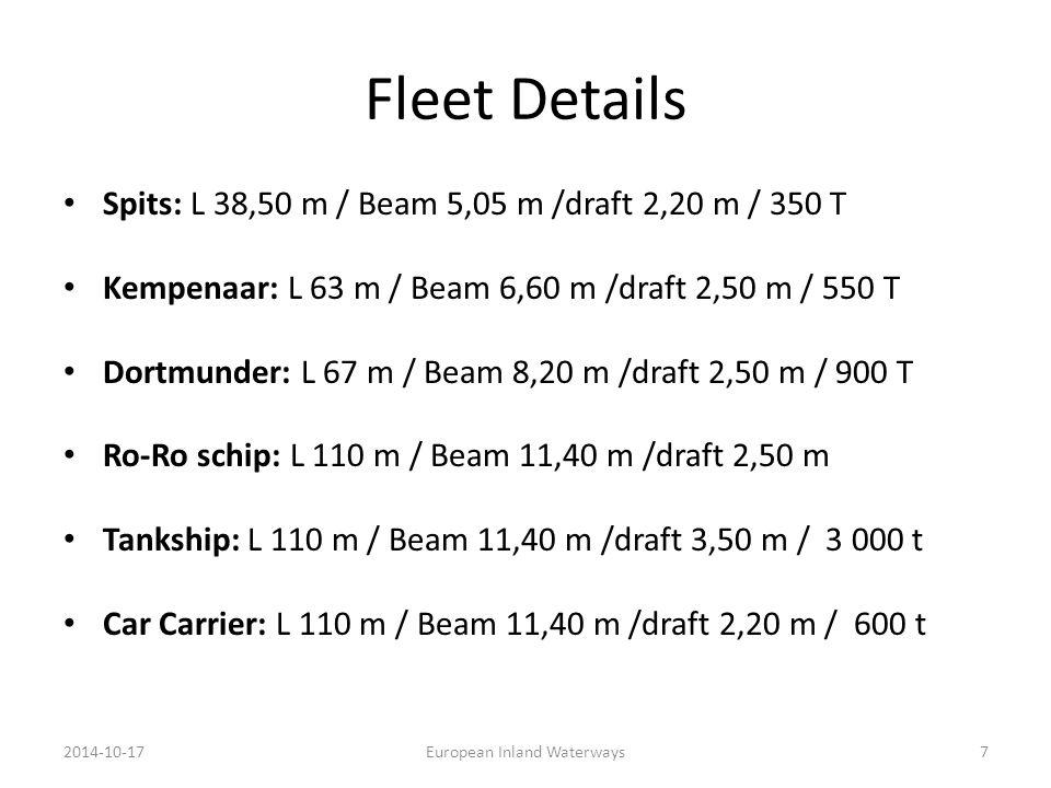 Fleet Details Spits: L 38,50 m / Beam 5,05 m /draft 2,20 m / 350 T Kempenaar: L 63 m / Beam 6,60 m /draft 2,50 m / 550 T Dortmunder: L 67 m / Beam 8,20 m /draft 2,50 m / 900 T Ro-Ro schip: L 110 m / Beam 11,40 m /draft 2,50 m Tankship: L 110 m / Beam 11,40 m /draft 3,50 m / 3 000 t Car Carrier: L 110 m / Beam 11,40 m /draft 2,20 m / 600 t 2014-10-17European Inland Waterways7