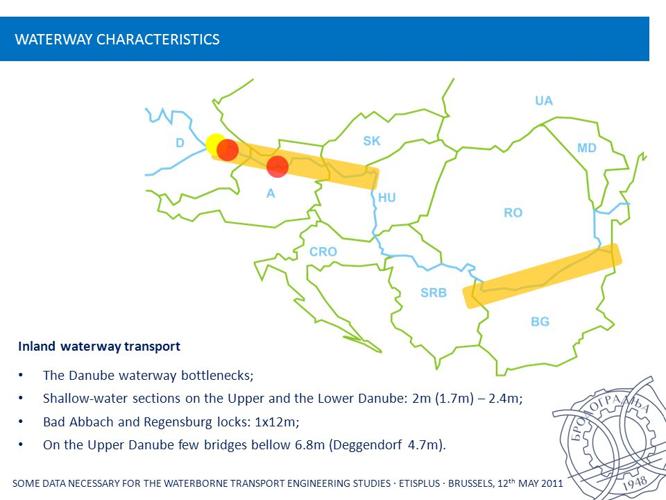 WATERWAY CHARACTERISTICS SOME DATA NECESSARY FOR THE WATERBORNE TRANSPORT ENGINEERING STUDIES ∙ ETISPLUS ∙ BRUSSELS, 12 th MAY 2011 Inland waterway transport The Danube waterway bottlenecks; Shallow-water sections on the Upper and the Lower Danube: 2m (1.7m) – 2.4m; Bad Abbach and Regensburg locks: 1x12m; On the Upper Danube few bridges bellow 6.8m (Deggendorf 4.7m).