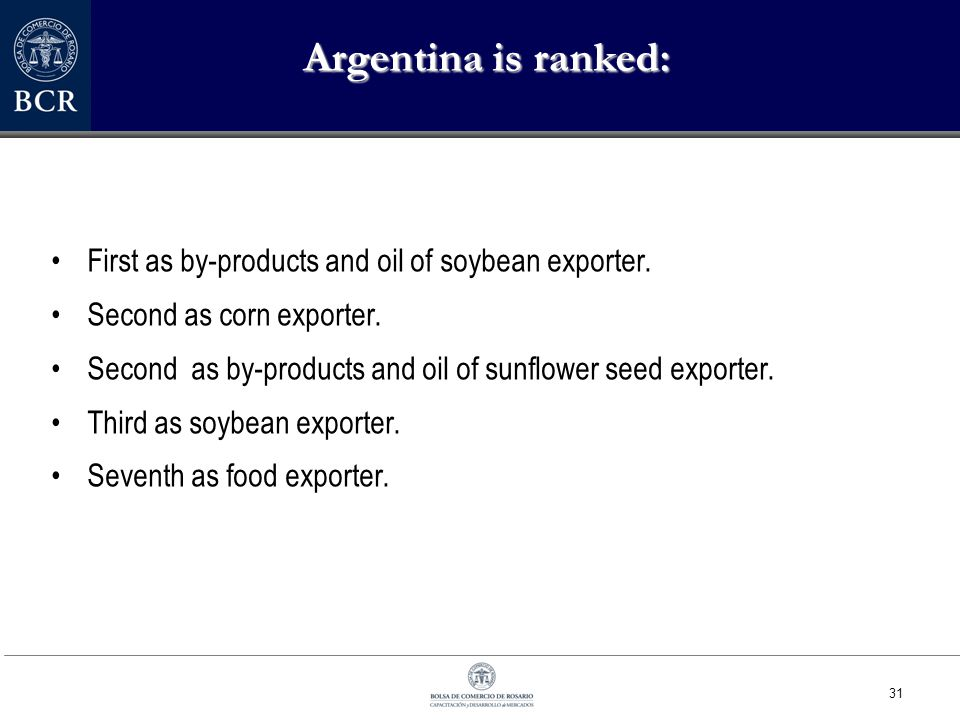 31 Argentina is ranked: First as by-products and oil of soybean exporter.
