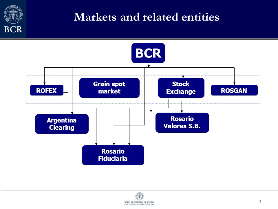 4 BCR ROFEX Grain spot market Argentina Clearing Rosario Valores S.B. Rosario Fiduciaria ROSGAN Stock Exchange Markets and related entities