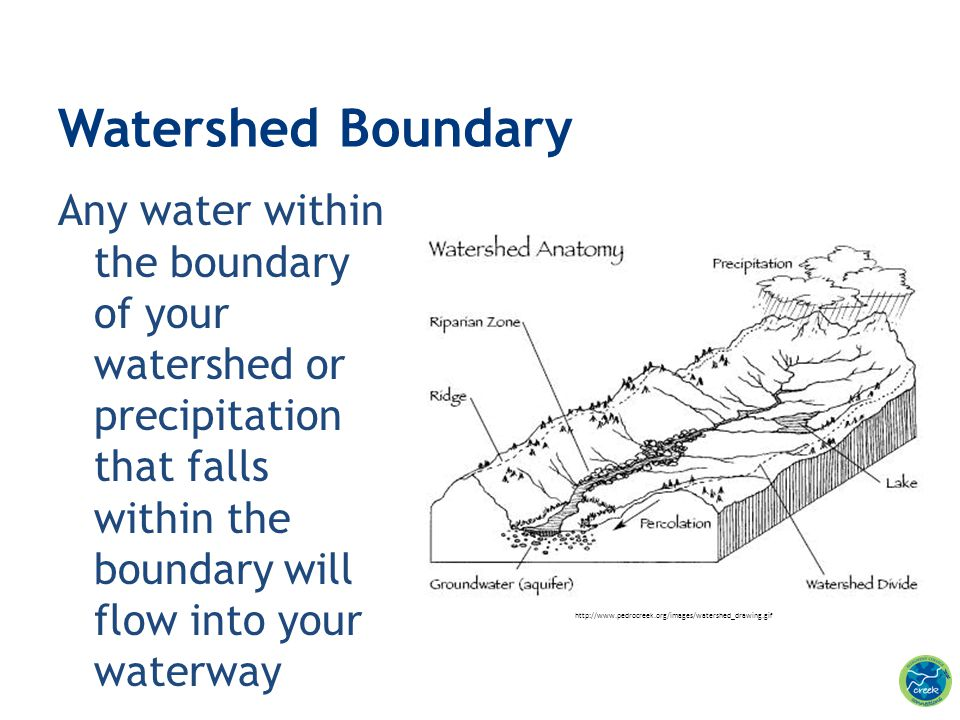 Any water within the boundary of your watershed or precipitation that falls within the boundary will flow into your waterway Watershed Boundary http:/
