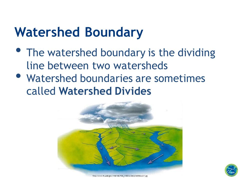 The watershed boundary is the dividing line between two watersheds Watershed boundaries are sometimes called Watershed Divides Watershed Boundary http