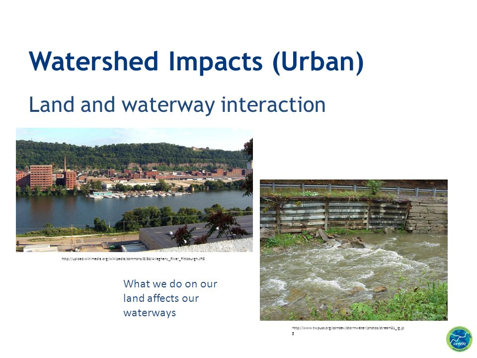 Land and waterway interaction Watershed Impacts (Urban) What we do on our land affects our waterways http://www.twpusc.org/comdev/stormwater/photos/st