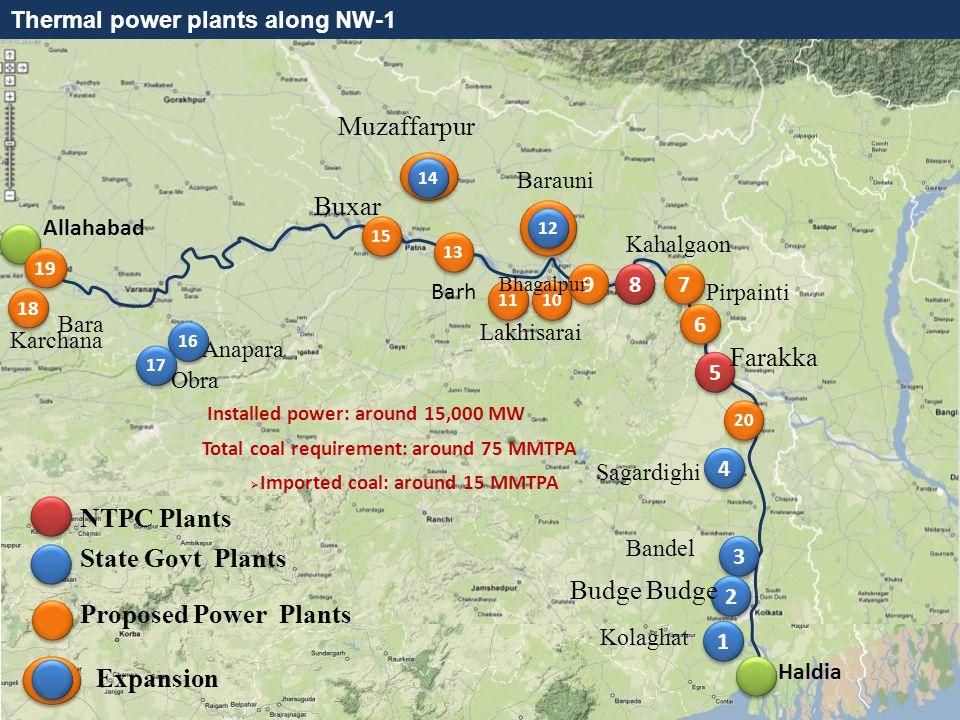 THANK YOU Thermal power plants along NW-1 Allahabad Haldia 13 6 6 8 8 Barauni Barh 15 7 7 18 19 Bara Karchana 6 6 9 9 11 10 Pirpainti Buxar Bhagalpur Lakhisarai 16 17 Anapara Obra NTPC Plants State Govt Plants 1 1 3 3 4 4 2 2 Bandel Budge Kolaghat 14 Muzaffarpur 12 8 8 Kahalgaon 5 5 Farakka Sagardighi 8 8 Expansion Proposed Power Plants 20 Installed power: around 15,000 MW Total coal requirement: around 75 MMTPA  Imported coal: around 15 MMTPA