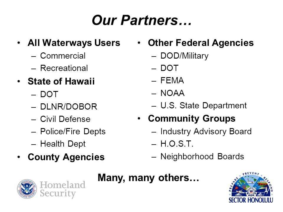 Our Partners… All Waterways Users –Commercial –Recreational State of Hawaii –DOT –DLNR/DOBOR –Civil Defense –Police/Fire Depts –Health Dept County Agencies Other Federal Agencies –DOD/Military –DOT –FEMA –NOAA –U.S.