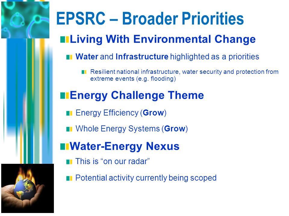 EPSRC – Broader Priorities Living With Environmental Change Water and Infrastructure highlighted as a priorities Resilient national infrastructure, wa