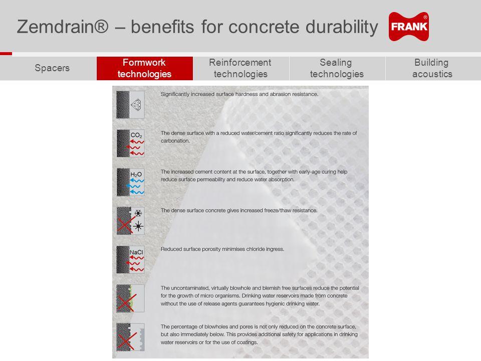 Building acoustics Sealing technologies Reinforcement technologies Formwork technologies Spacers Zemdrain® – benefits for concrete durability