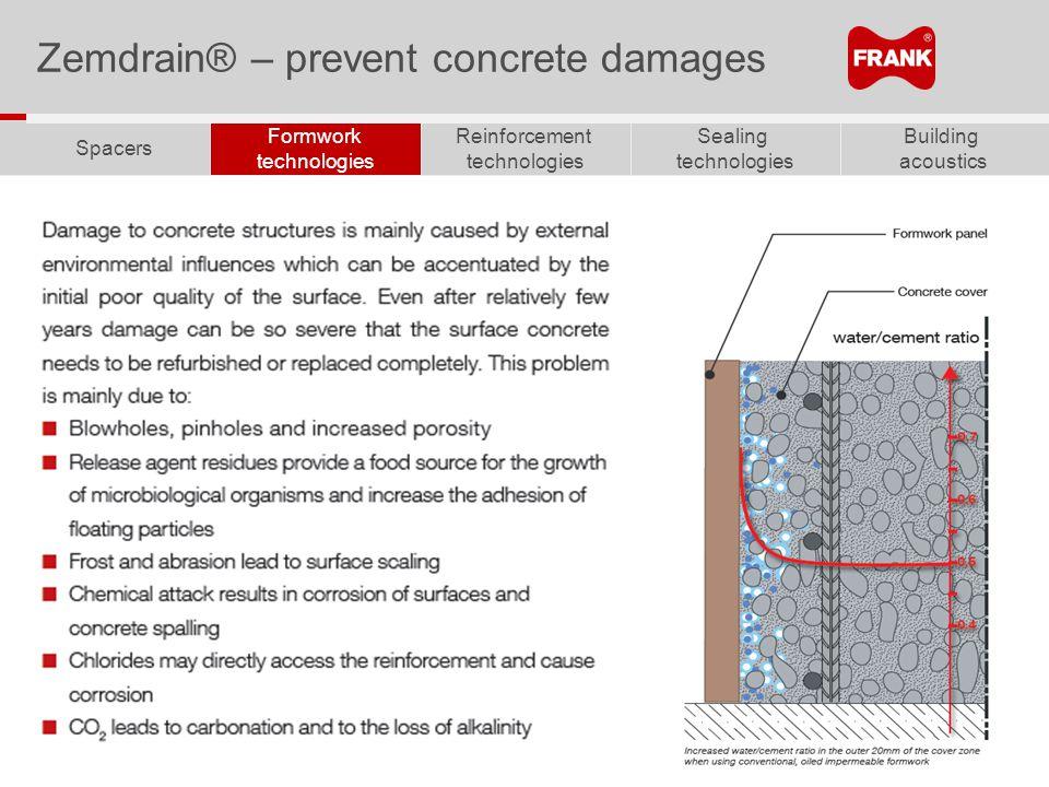 Building acoustics Sealing technologies Reinforcement technologies Formwork technologies Spacers Zemdrain® – prevent concrete damages