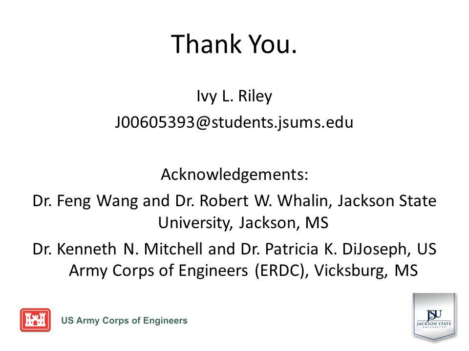 Thank You. Ivy L. Riley J00605393@students.jsums.edu Acknowledgements: Dr.