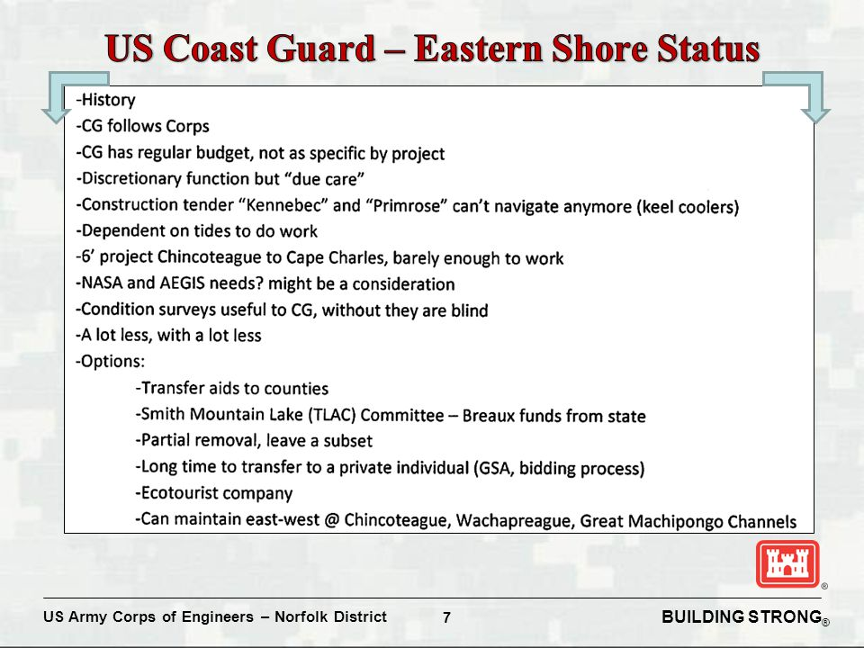 BUILDING STRONG ® US Army Corps of Engineers – Norfolk District 7