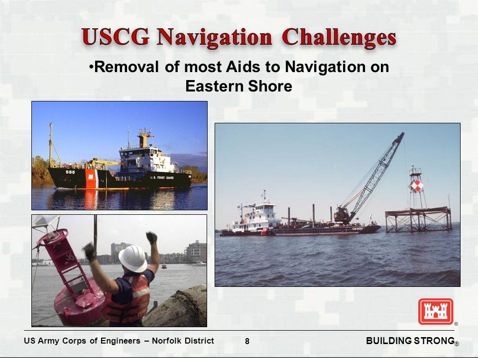 BUILDING STRONG ® US Army Corps of Engineers – Norfolk District 8 Removal of most Aids to Navigation on Eastern Shore