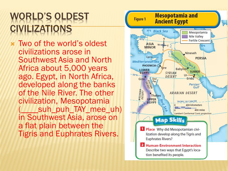  Two of the world's oldest civilizations arose in Southwest Asia and North Africa about 5,000 years ago. Egypt, in North Africa, developed along the