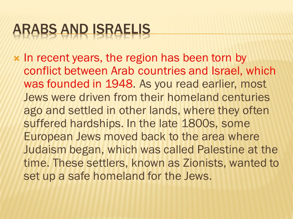  In recent years, the region has been torn by conflict between Arab countries and Israel, which was founded in 1948. As you read earlier, most Jews w