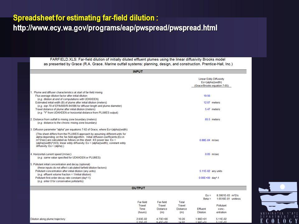 Spreadsheet for estimating far-field dilution : http://www.ecy.wa.gov/programs/eap/pwspread/pwspread.html