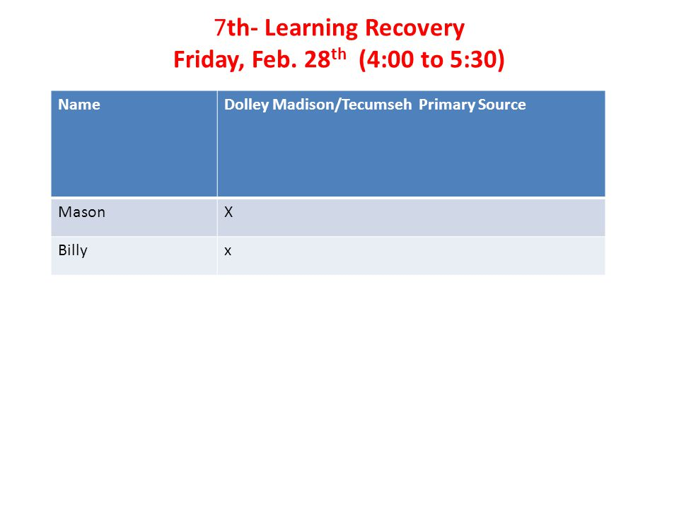 7th- Learning Recovery Friday, Feb.
