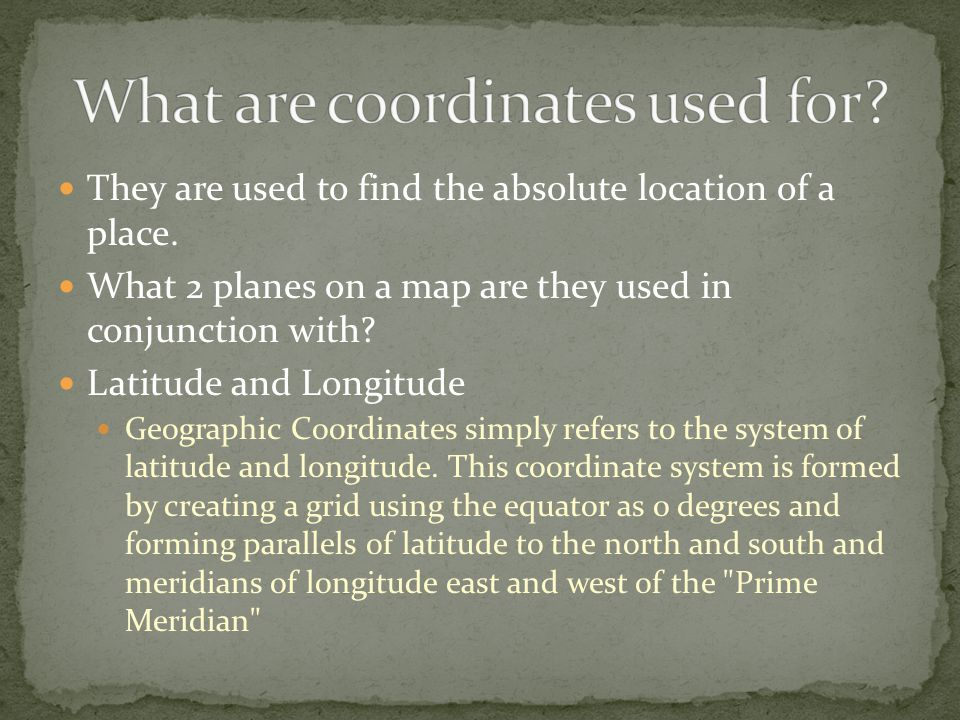 Absolute location, relative location, latitude and longitude, place, movement, region, human- environment interaction, location, landforms, types of water, anything we have talked about having to do with the 5 themes.