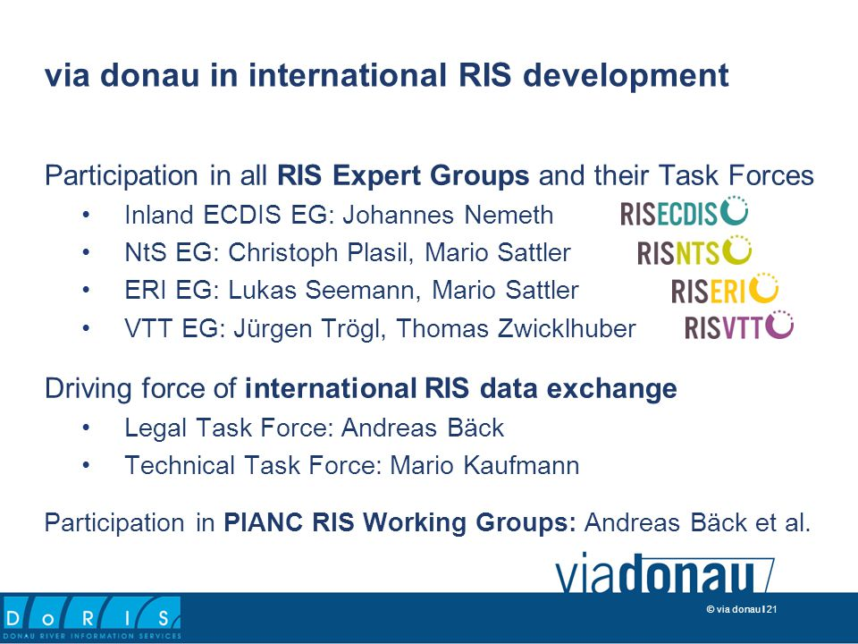 © via donau I 21 Participation in all RIS Expert Groups and their Task Forces Inland ECDIS EG: Johannes Nemeth NtS EG: Christoph Plasil, Mario Sattler ERI EG: Lukas Seemann, Mario Sattler VTT EG: Jürgen Trögl, Thomas Zwicklhuber Driving force of international RIS data exchange Legal Task Force: Andreas Bäck Technical Task Force: Mario Kaufmann Participation in PIANC RIS Working Groups: Andreas Bäck et al.