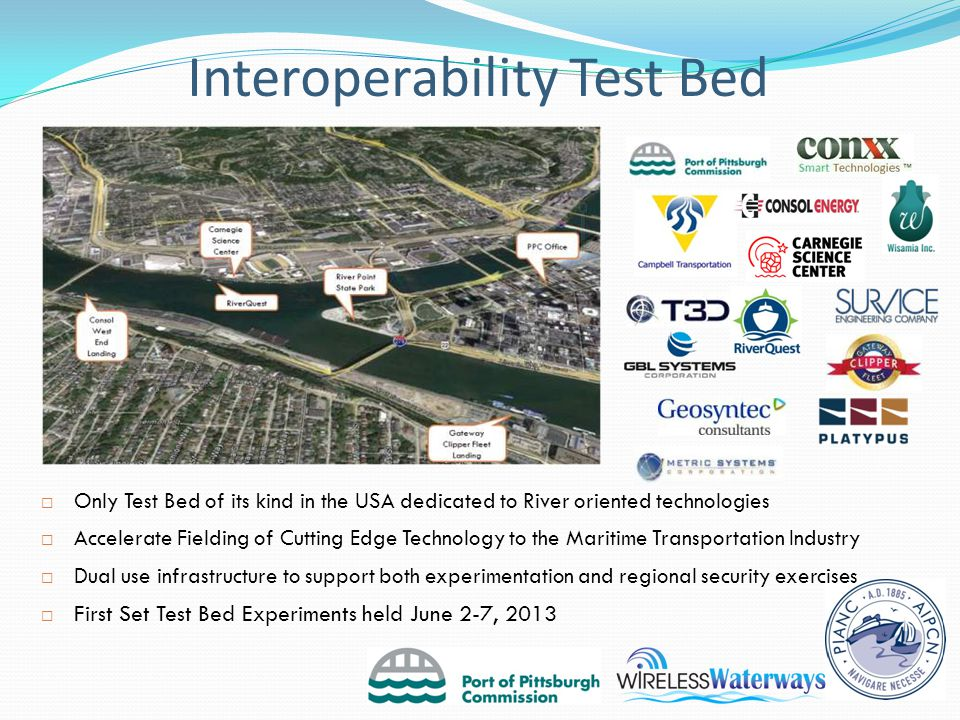 Interoperability Test Bed  Only Test Bed of its kind in the USA dedicated to River oriented technologies  Accelerate Fielding of Cutting Edge Technology to the Maritime Transportation Industry  Dual use infrastructure to support both experimentation and regional security exercises  First Set Test Bed Experiments held June 2-7, 2013