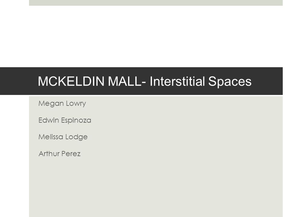 MCKELDIN MALL- Interstitial Spaces Megan Lowry Edwin Espinoza Melissa Lodge Arthur Perez