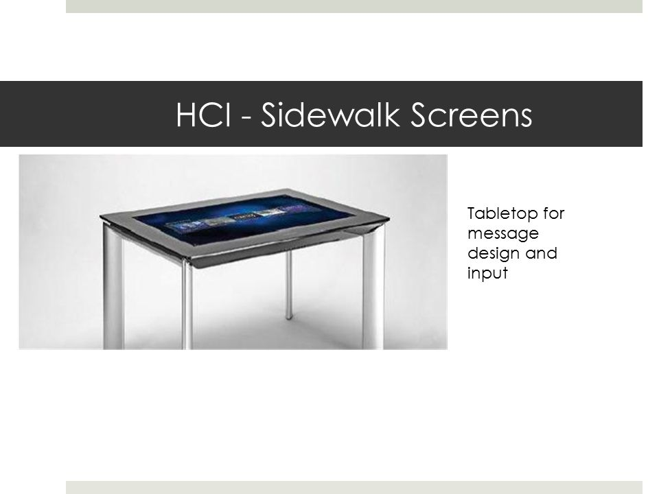 HCI - Sidewalk Screens Tabletop for message design and input
