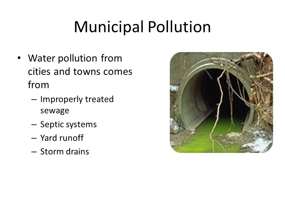 Municipal Pollution Water pollution from cities and towns comes from – Improperly treated sewage – Septic systems – Yard runoff – Storm drains