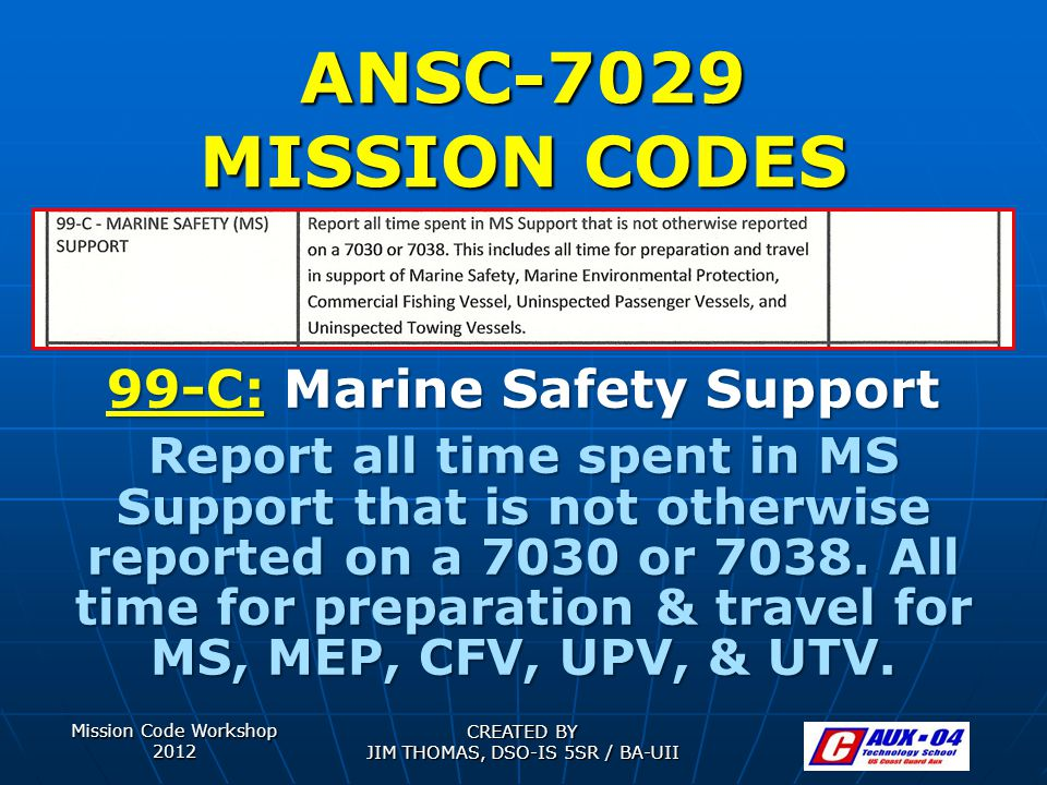 Mission Code Workshop 2012 CREATED BY JIM THOMAS, DSO-IS 5SR / BA-UII ANSC-7029 MISSION CODES 99-C: Marine Safety Support Report all time spent in MS