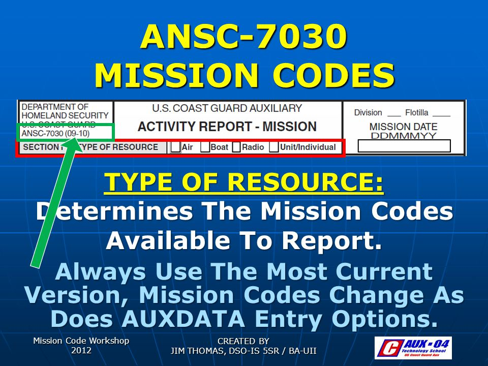 Mission Code Workshop 2012 CREATED BY JIM THOMAS, DSO-IS 5SR / BA-UII ANSC-7030 MISSION CODES TYPE OF RESOURCE: Determines The Mission Codes Available