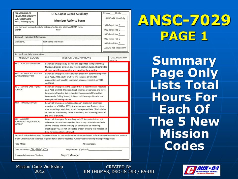 Mission Code Workshop 2012 CREATED BY JIM THOMAS, DSO-IS 5SR / BA-UII ANSC-7029 PAGE 1 Summary Page Only Lists Total Hours For Each Of The 5 New Mission Codes