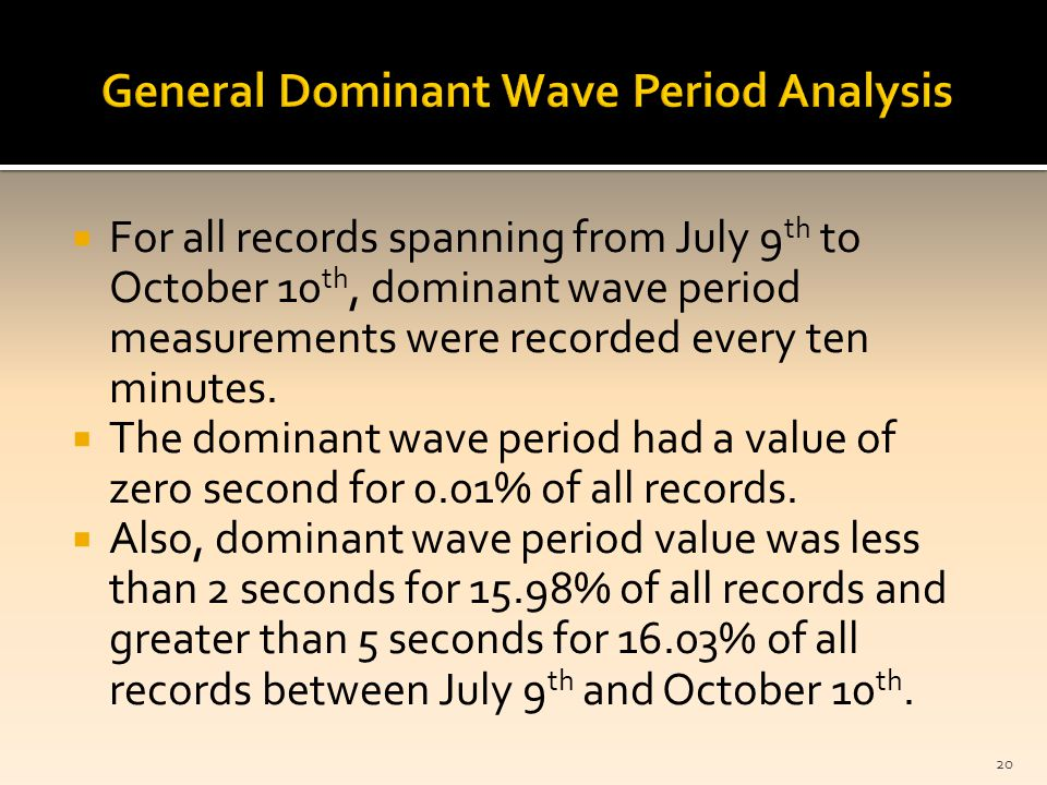  For all records spanning from July 9 th to October 10 th, dominant wave period measurements were recorded every ten minutes.