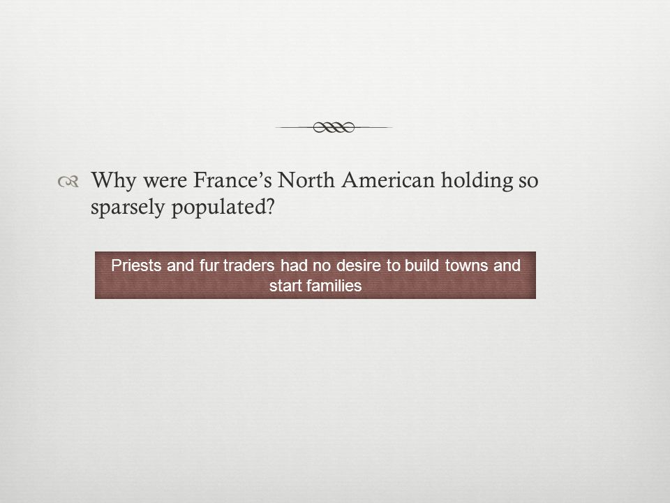  Why were France's North American holding so sparsely populated.