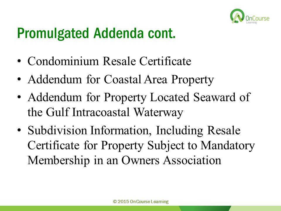 Promulgated Addenda cont.