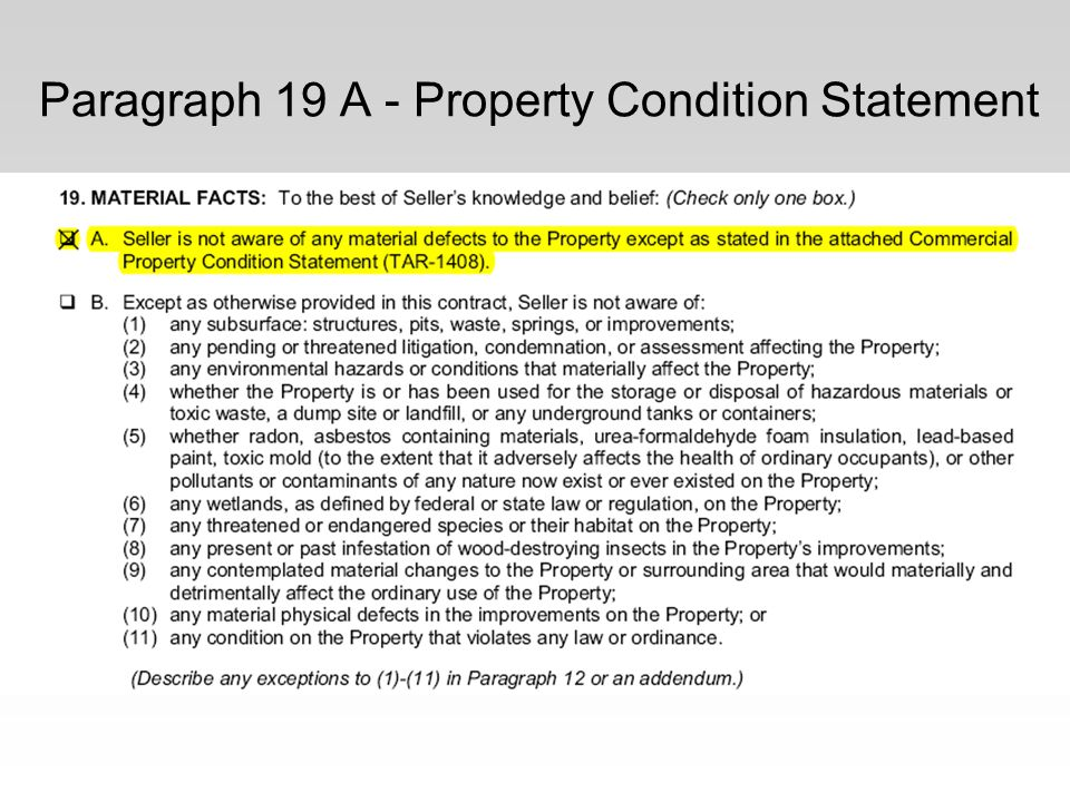 Paragraph 19 A - Property Condition Statement